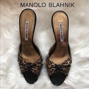 MANOLO BLAHNIK Metallic Leopard Slides Heels